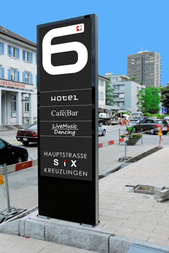 Leuchtreklame,Totem. Pylon, Leuchtkasten für Hotel SIX in Kreuzlingen