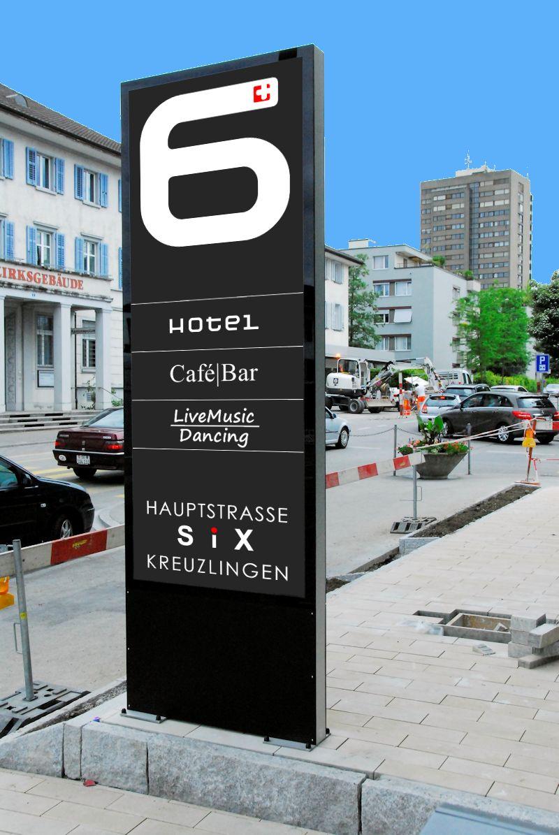 Leuchtreklame, Totem, Leuchtpylone, Leuchtkasten für Hotel SIX in Kreuzlingen