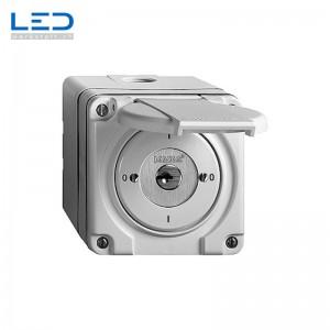 AP-Drehschalter nass 0/1L ws m.Sicherheitsschloss, Feller Steckdose und Schalter Gartensteckdose zu Steckdosensäule, Elektrosäule Sockel