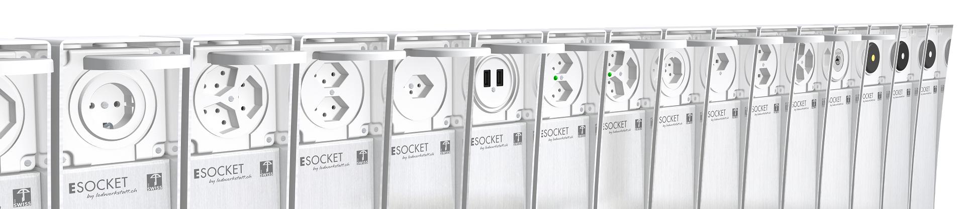 Elektroinstallateure, Steckdosensockel ESOCKET 350/900, Steckdosensäulen, Elektrosäulen und Wegleuchten in Edelstahl (INOX) Swissmade