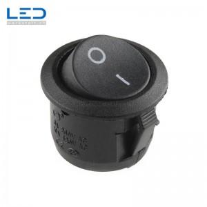 Wippenschalter I/0 Schwarz, max. 6A bei 230V, D=20mm, Einbautiefe 22,6mm