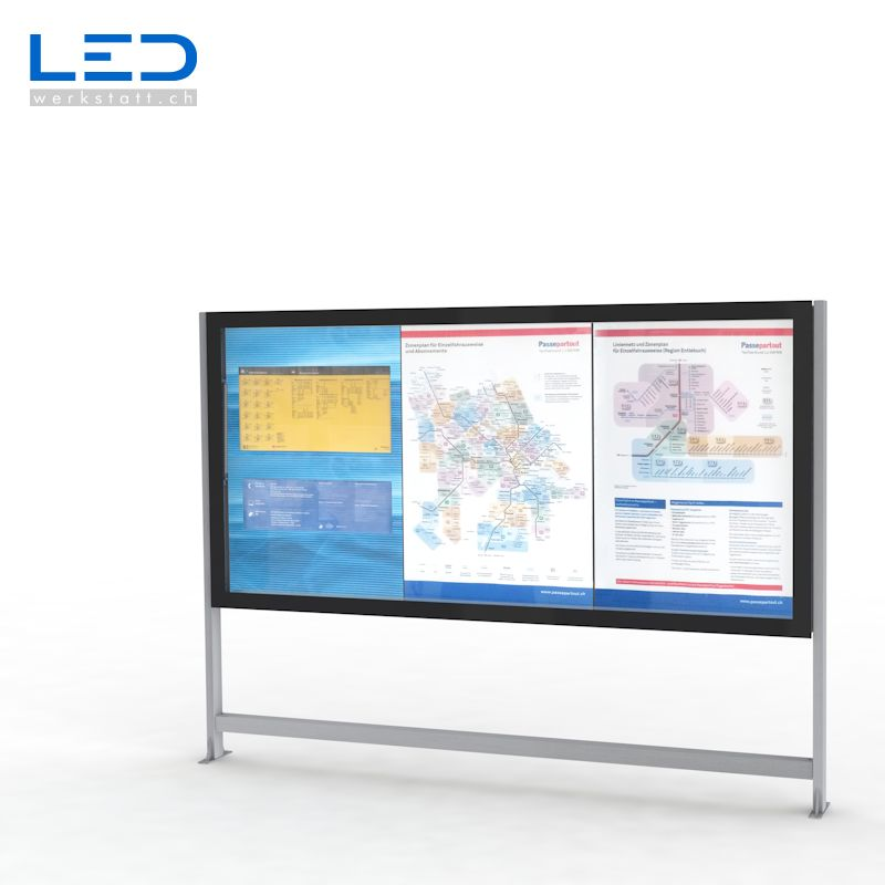 LED Leuchtkasten 3xA0 für Gemeindeinformationen oder Fahrpläne und Karten