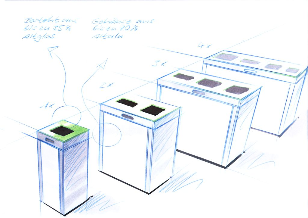 Recyclingstation, Recyclingstation Innen, Recyclingstation Büro, Recyclingstation Edelstahl, Recyclingstation Drinnen, Recyclingstation PET, Abfallbehälter, Wertstoffbehälter, 110 Liter, Swissmade