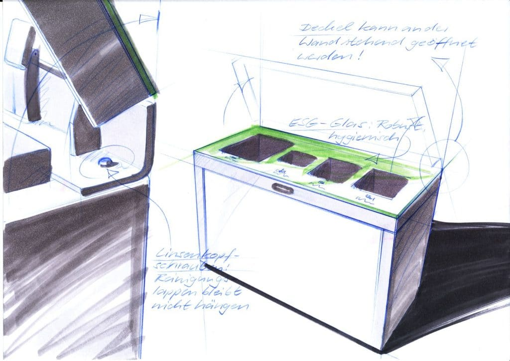 Recyclingstation, Design, Wertstoffbehälter, Waste Bin, Abfalltrenner, Abfallbehälter