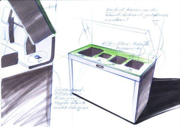 Recyclingstation, Wertstoffsammler, 3fach, Recycling Behälter, Recycling Station, Design, Wertstoffbehälter, Waste Bin, Abfallbehälter, Swiss Made, Entsorgungsstatrion, Recycling, Entsorgung, Büro, Innen, Innenraum