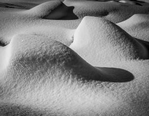 Belechtetes Schnee Bild im Wallis, Hinterleuchtete Bilderrahmen