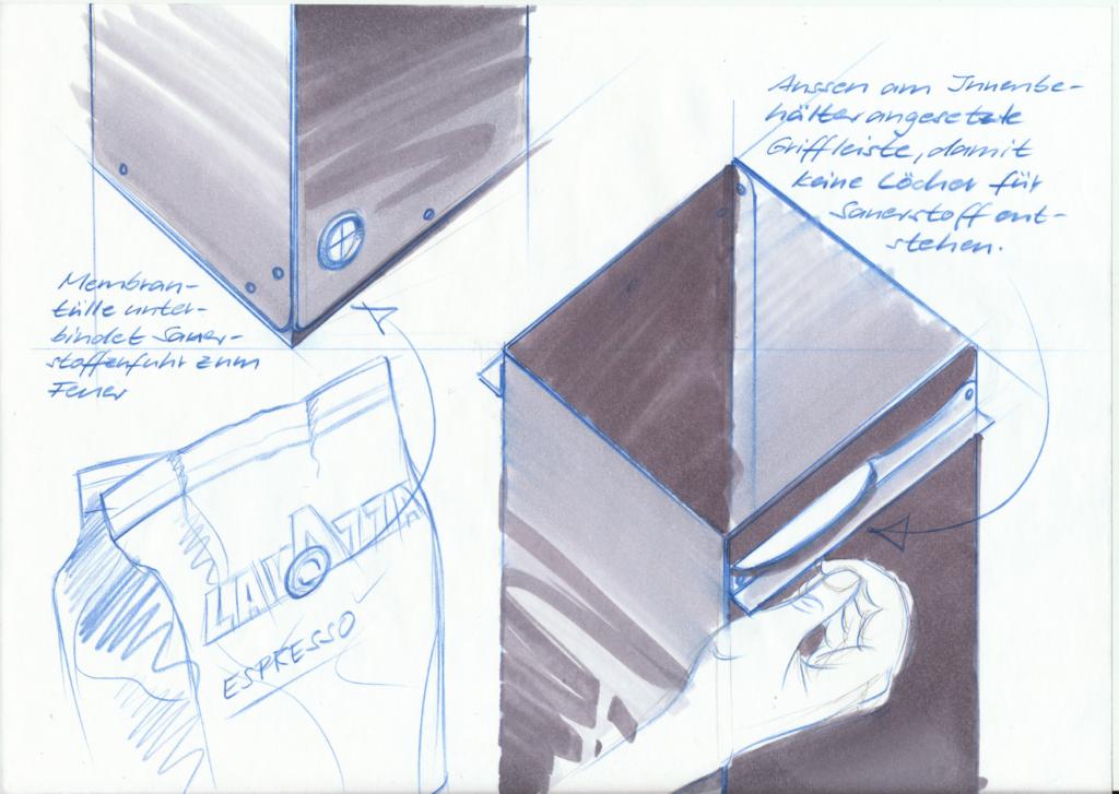 Entnahme Innenbehälter, Brandschutzbehälter mit Selbstlöschung