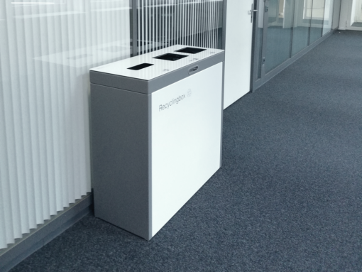Multilith ™ Recyclingstation Swisslife, Recyclingbox, Entsorgungsstation, Abfalltrenner, Abfallbox, Recycling Büro, 110 liter, Swissmade, Comodo, landscape furniture, public waste bins, Poubelle Recyclage