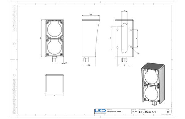 Steckdosenblende in geschliffenem Edelstahl, ESOCKET™ Blende für Schweizer Steckdosen von Feller und Hager im Aussenbereich, Elektromaterial