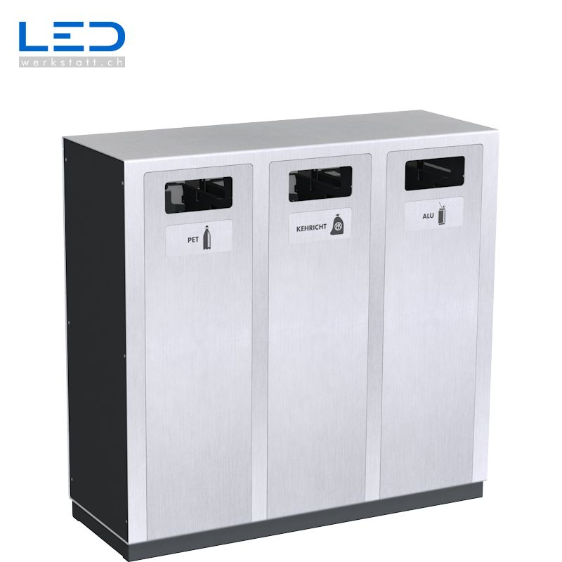 Recyclingstation W3, Wertstoffbehälter, PET, ABFALL, ALU, Sammelstation, Abfallbehälter, Recycling Station, Edelstahl