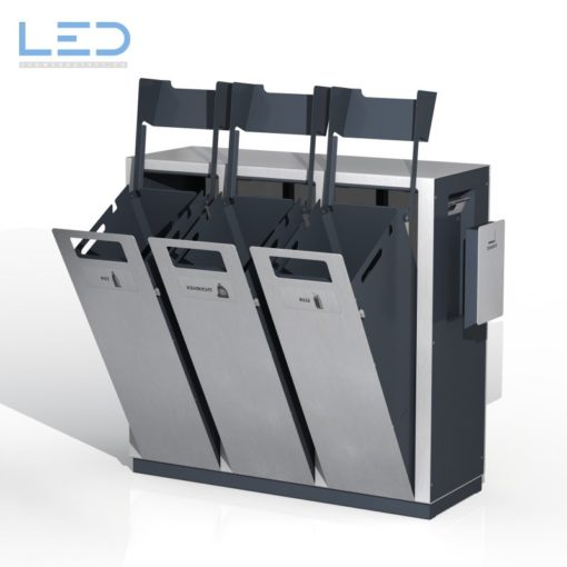 Wertstoffsammelbehälter W3, Wertstoffbehälter W3, Abfalltrennbehälter, Abfallbehälter PET, Abfall, Alu und Ascher, Recycling Station