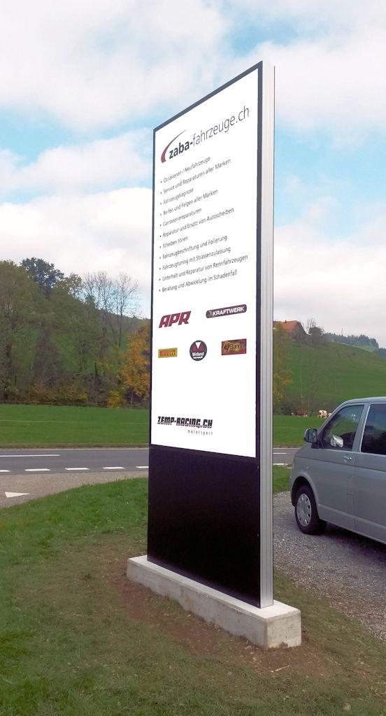 Zaba-Fahrzeuge LED Pylone, ZABA Leuchtreklame Echolzmatt, landscape furniture, Leuchtkasten