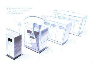 Recyclingstation, Design Skizze, Aussenbereich, Recycling Station, Abfallbehälter Edelstahl, Wertstoffbehälter, 110 Liter, PET, Abfall, Alu, Papier, Ascher, Recycling Behälter