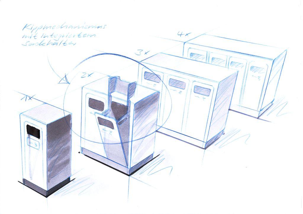 Recyclingstation Design Aussenbereich, Recycling Station, Abfallbehälter Edelstahl, Wertstoffbehälter, Public Waste Bins, landscape furniture