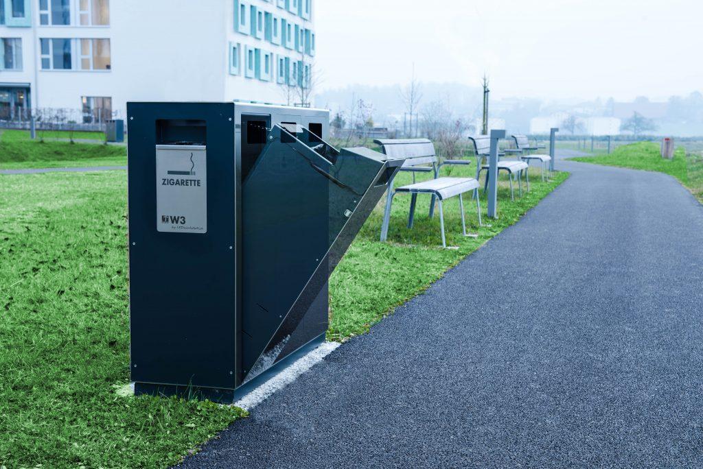 Recyclingstation, Wertstoffbehälter, Edelstahl, Recycling Station, Waste Bin, Abfalltrenner, Entsorgungsbehälter, Swiss Made, 110l, PET, Alu-Dosen, Papier, Abfall, Luzern