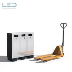 W3 Recyclingstation mit Beton-Fundament für den Hubstapler, waste management, landscape furniture