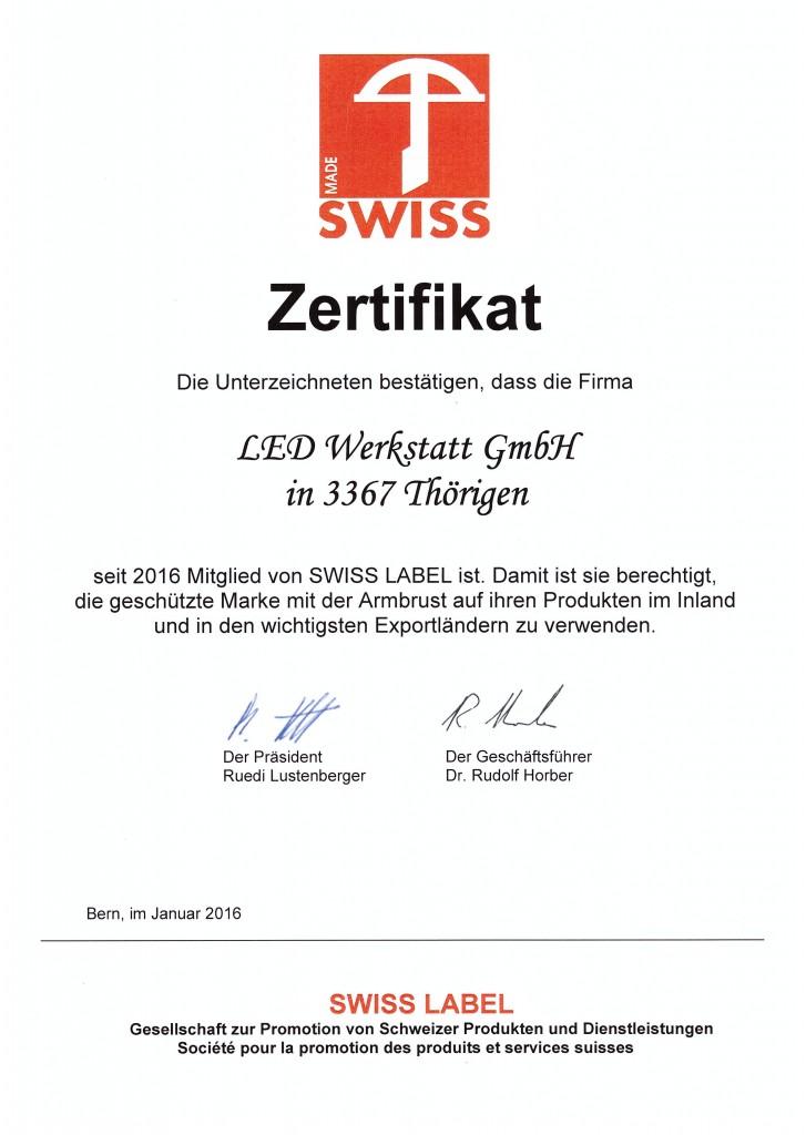 Swissmade, Swiss Made, Zertifikat Swiss Label, Schweizer Hersteller von Leuchtreklamen, Steckdosensäulen, Recyclingstationen