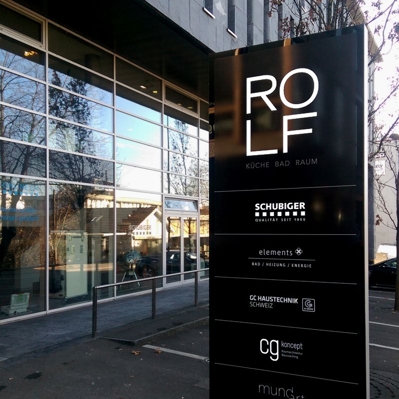 Rolf Schubiger Küchen AG St. Gallen LED Leuchtkasten, Leuchtreklame, Totem, landscape furniture