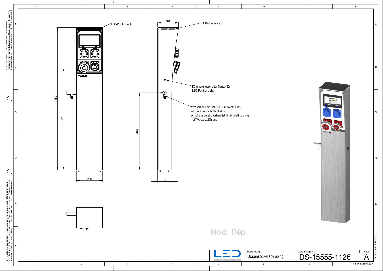 Zeichnung CSocket Versorgungssäule, Stromsäule, Energiesäule, Steckdosensäule