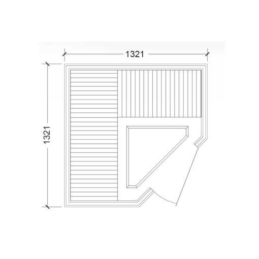 Infrarotkabine-Tylö-Prime+-1313 -mit-Eckeinstieg, Infrarot Sauna für 3 Personen, Grundriss