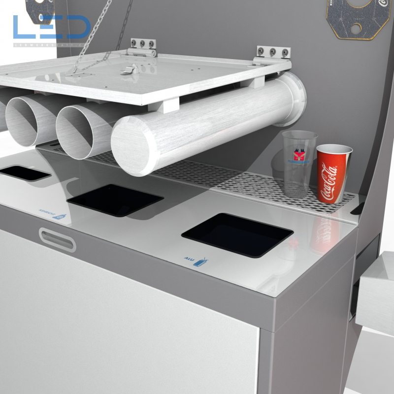 Multilith Umschüttstation, ein hygienischer und moderner Sammelbehälter mit Becherspender.