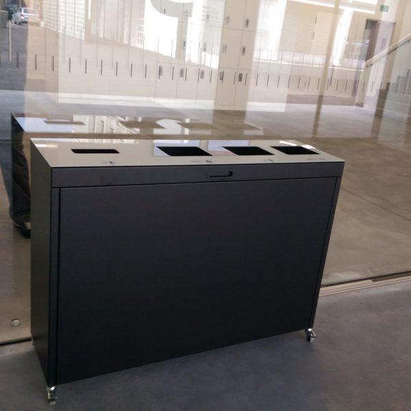 Recyclingstation, Recycling Station Drinnen, Recycling Stationen Büro, Recycling Box PET, Recycling Behälter Schweiz, Recyclingstationen Innen, Abfallbehälter OFFICE, Abfallstation Schule, BBZ SO-GR, 110 Liter