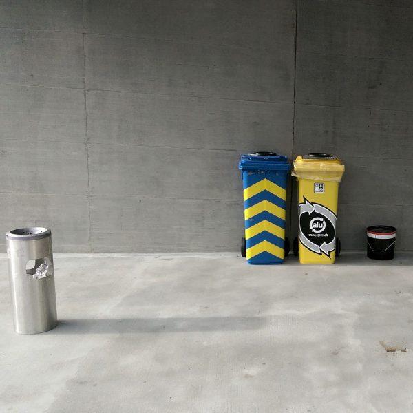 Recyclingstation, Recyclingbox Edelstahl, Recycling Station 110 Liter, Recycling Behälter Schweiz, Recyclingbehälter PET, Recycling aussen, Recyclinglösung Draussen, BBZ-SO-GR, Swissmade