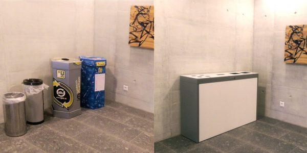 Recyclingstation Multilith, Wertstoffbehälter, Büro, Reinthal, Abfalltrennung, Mülltrenner, PET, Bechersammler, Alu, Recycling Station, 110l