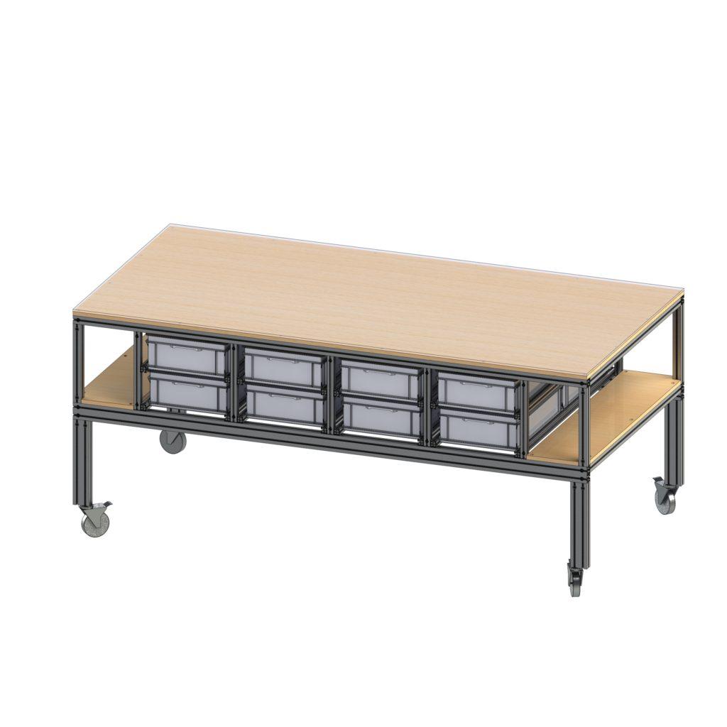 Flexibler Montagetisch, Arbeitstisch, Werkstatteinrichtung, Werkstatttisch, Werkbank