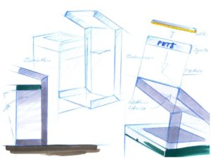 Recyclingstation, Q-Bin Wertstoffbehälter, Abfallbehälter, Design Skizze