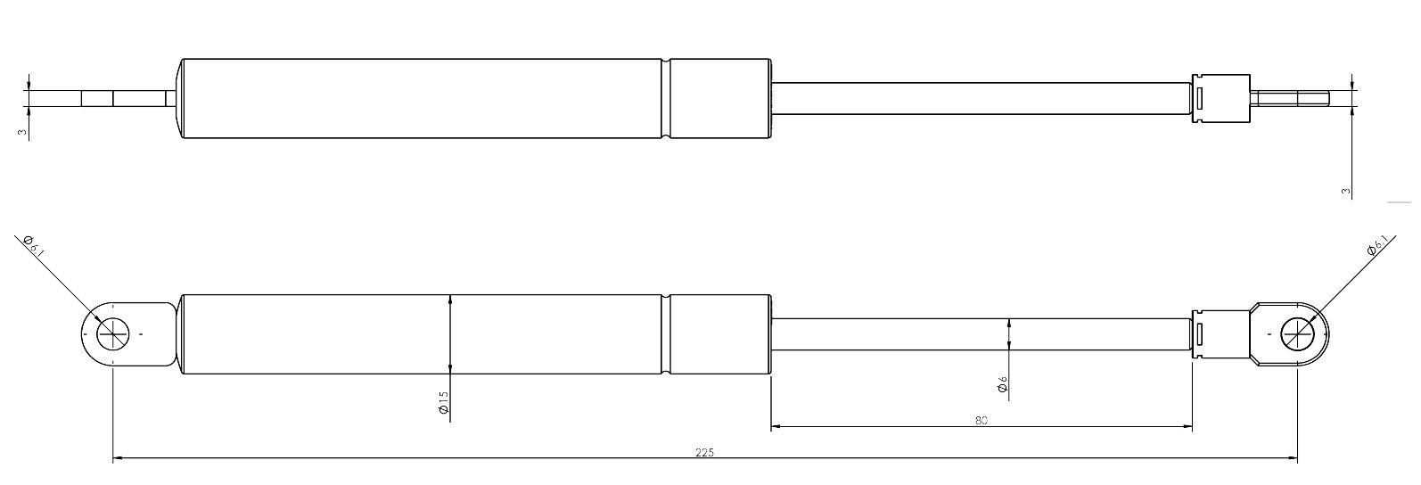 Zeichnung Gasdruckfeder, Gasfeder
