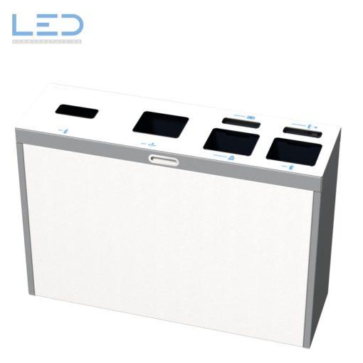 Recyclingstation Sonderkonfiguration, PET, Abfall, Alu, Kunststoff, Batterie, Elektro, 110l, Büro, Wertstoffbehälter, Waste Bin, Abfallbehälter, waste management