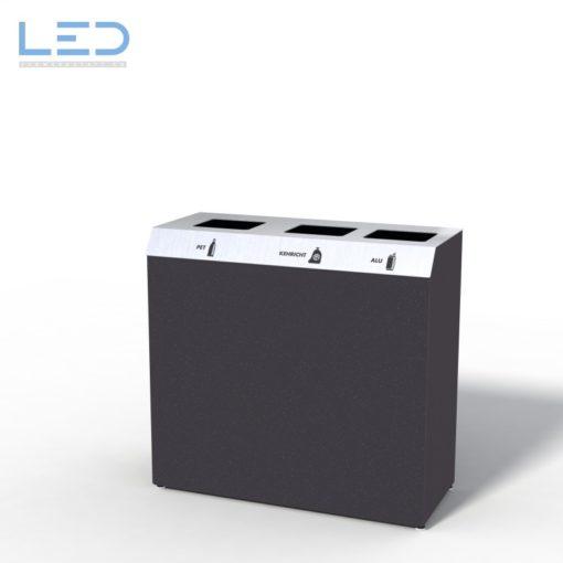 C3 Recyclingstation, C-Bin, Design Abfallbehälter, Wertstoffbehälter, Waste Bin, Abfalltrenner, 110l, Edelstahl, Schwarz, DB703, Poubelle, Abfalltrenner, Recycling Station, waste management