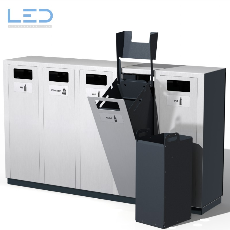 Recyclingstation W5, Abfallbehälter, Wertstoffbehälter, Trasch, Recycle, Garbage, Recycling Bin, landscape furniture