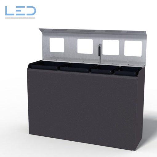 C4 Recyclingstation, Abfallbehälter, Wertstoffbehälter, Waste Bin, Design Abfalltrenner, 110l, Edelstahl, Schwarz, DB703, Robidog, Abfallhai, Helvetiabin