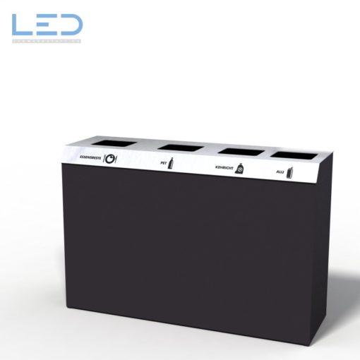 C4 Recyclingstation, Abfallbehälter, Wertstoffbehälter, Waste Bin, Design Abfalltrenner, 110l, Edelstahl, Schwarz, DB703, waste management