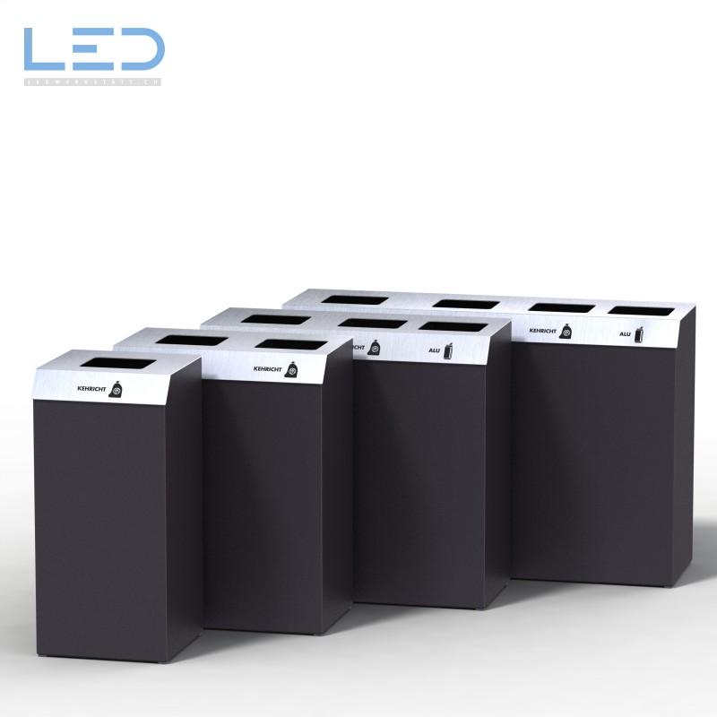 Recyclingstationen C-Bin Serie, Recycling Behälter, PET, Abfall, Alu, Papier, 110l, Edelstahl, Design, Abfallbehälter, Wertstoffbehälter, Swissmade