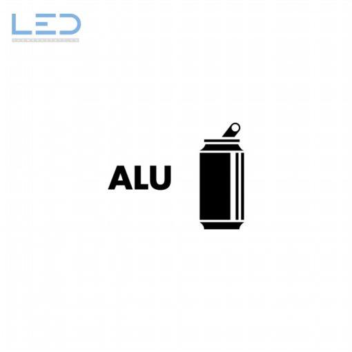Alu Symbol, Signet Beschriftung Recyclingstation