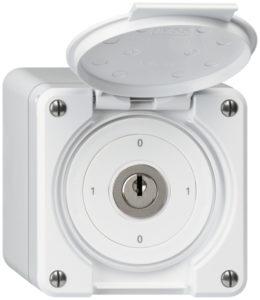 E-Nr 246303003 AP-Schlüsselschalter ROB mit Klappdecke ws