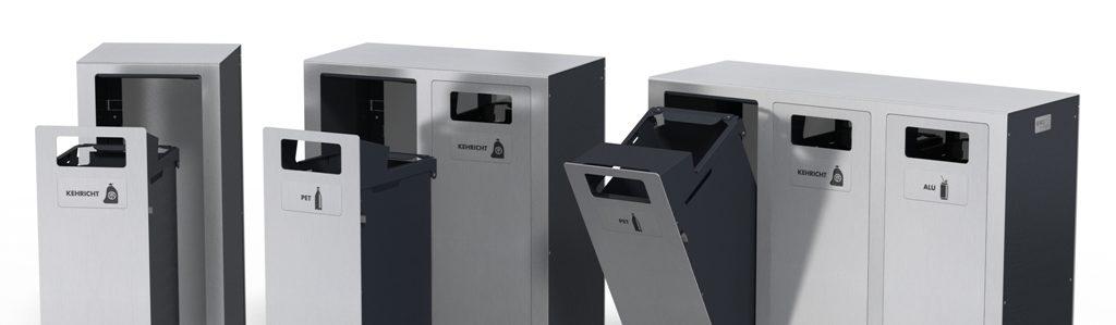 Recyclingstation Aussen, Inox, Edelstahl, Entsorgungssystem, Abfallmobiliar, Public Waste Bins, Poubelle Recyclage, PET Recycling