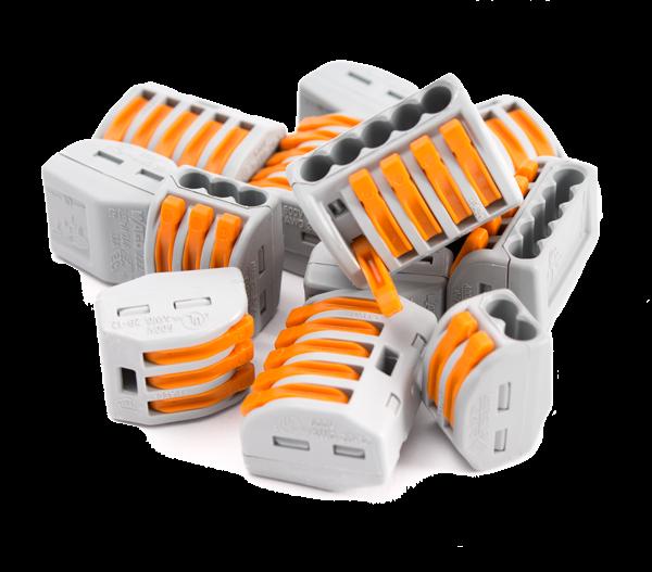 Wago Klemmen, Strom, Vedrahtung, WAGO Klemme, Verbindungsklemme 3-fach für starre und flexible Kabel bis 4mm³, lösbar