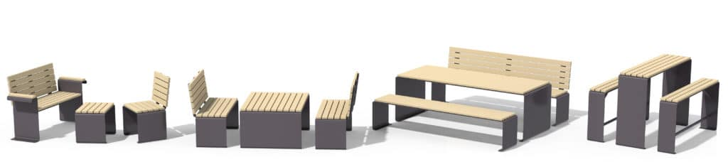 Parker Parkbank , Stadtmobiliar, public furniture, Sitzbänke, Urbanes Mobiliar, Swiss Made, aussen Gartenbank aus Metall