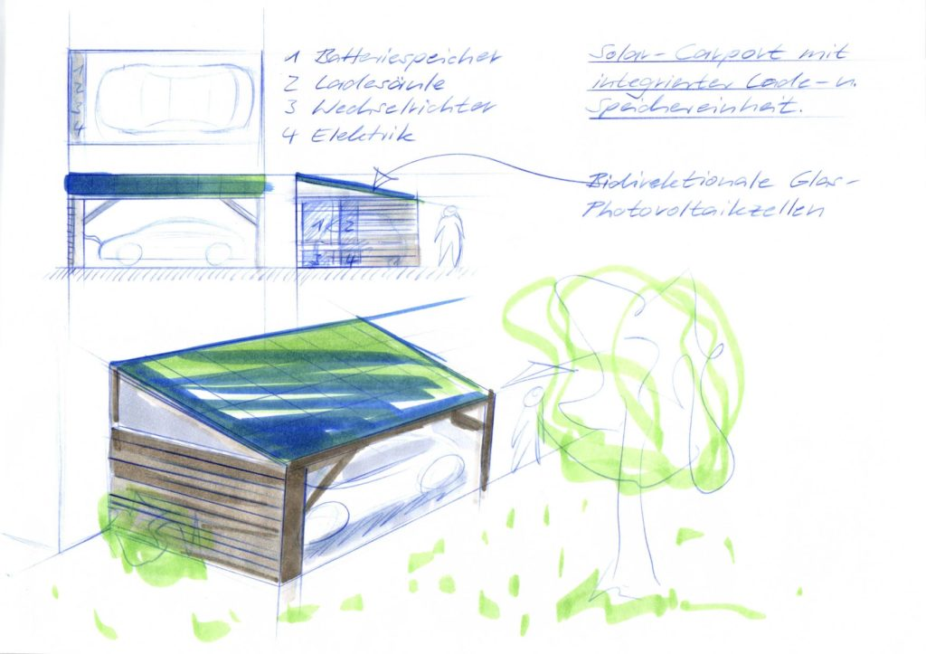 Solar-Carport Design Skizze