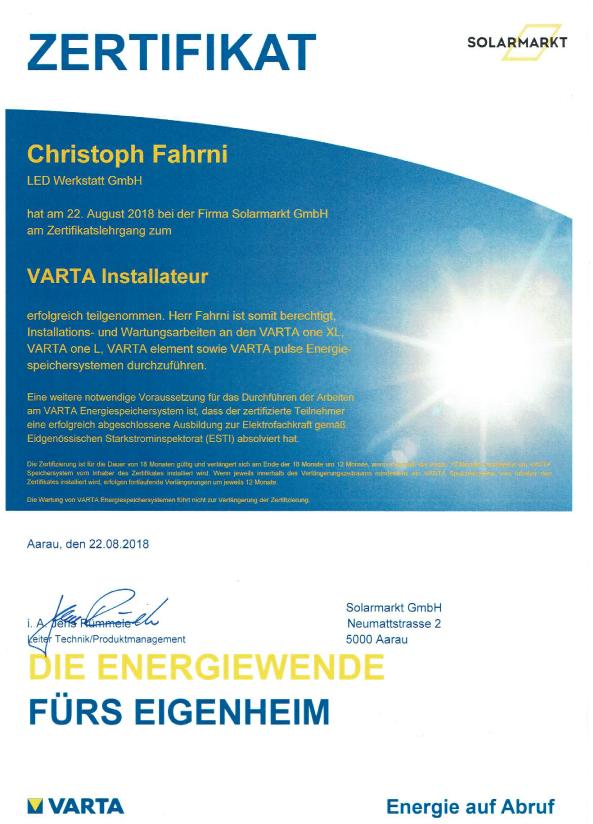 Varta-Batteriespeicher-Zertifikat, Varta Batterie, Energiespeicher, installation