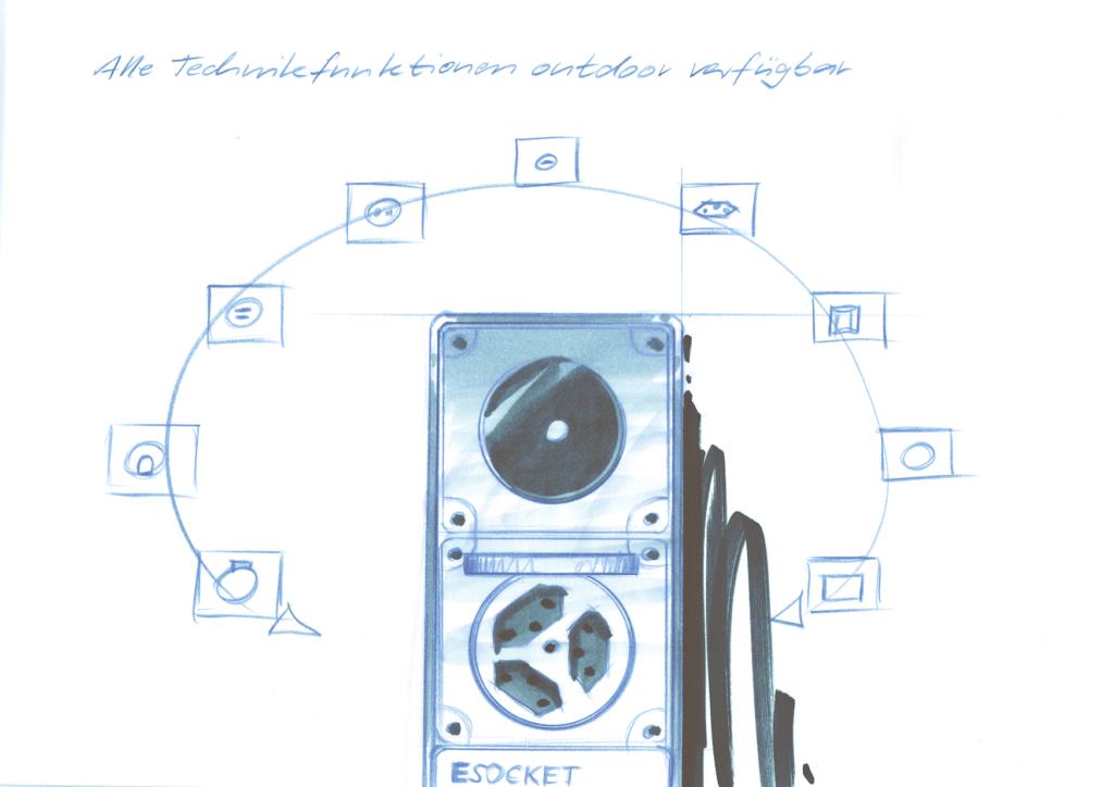 Design Steckdosnesäule ESocket mit Feller Edizio oder Hager Robusto NAP, Elektromaterial, Gartenstromverteiler