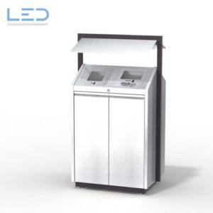 Recycling-Box O2, Recyclingstation O3-Box, Wertstoffbehälter, 110 l, Abfall, PET, Alu, Waste Bin, Public Furniture, Stadtmobiliar, Swiss Made, Entsorgungslösung