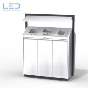 Recycling-Box O3, Recyclingstation O3-Box, Wertstoffbehälter, 110 l, Abfall, PET, Alu, Waste Bin, Public Furniture, Stadtmobiliar, Swiss Made, Entsorgungslösung