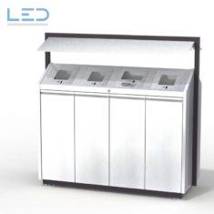 Recycling-Box O4, Recyclingstation O4-Box, Wertstoffbehälter, 110 l, Abfall, PET, Alu, Waste Bin, Public Furniture, Stadtmobiliar, Swiss Made, Entsorgungslösung