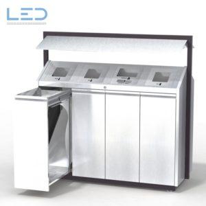 Recycling-Box O4, Wertstoffbehälter O-Box, Recyclingstation, Abfallbehälter, Abfall, PET, Alu, Glas