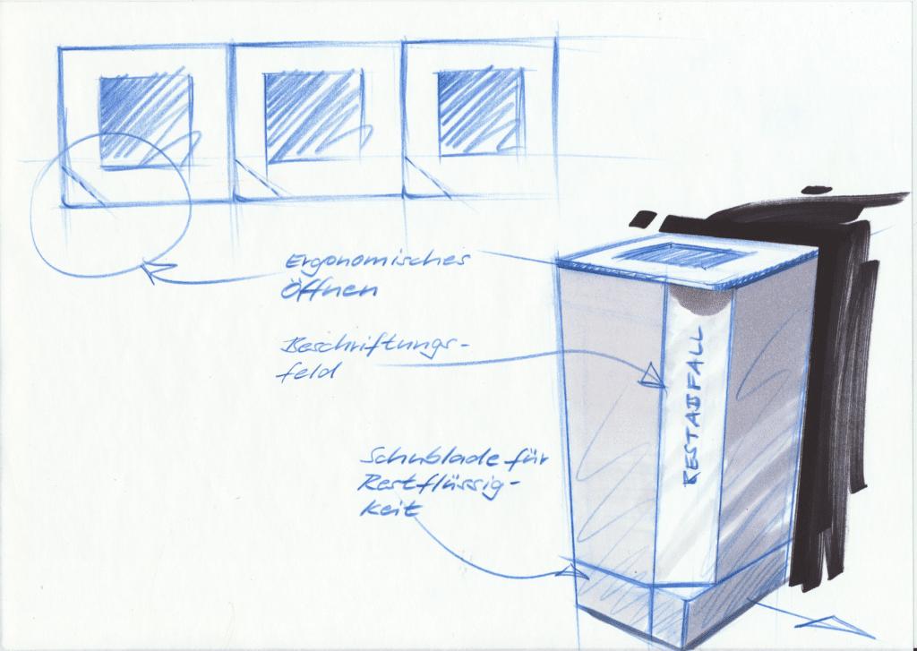 Design P-Bin Recyclingstation für KMUs und Private, 110 Liter